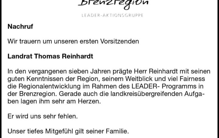 Nachruf Landrat Reinhardt
